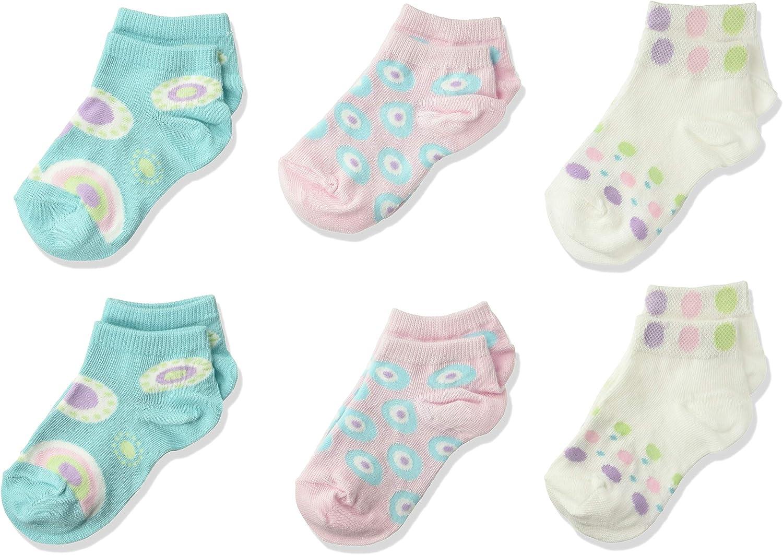 Country Kids girls Polka Dot Sneaker Liner Socks Low Cut No Show, Pack of 6