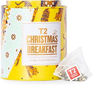 T2 Tea Christmas Breakfast Tea, 25 Black Tea Bags in Limited Edition Tin, 87.5 g