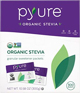 Pyure Organic Stevia Sweetener Packets, Granulated Sugar Substitute, 300 Count