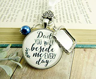 Bridal Bouquet Charm Dad You Walk Beside Me White Blue Wedding Pendant Father Memorial Photo Silver Finish Jewelry