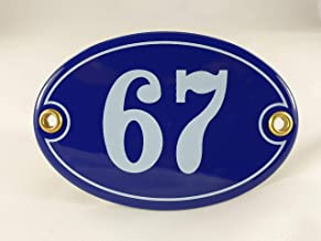 Emaille huisnummerbordje nr. 67, ovaal, blauw-wit Nr. 67 Blau-Weiß