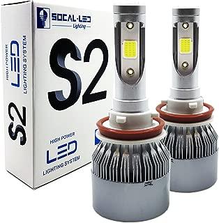 SOCAL-LED 2x S2 Automotive H11 H8 LED Headlight Bulbs Conversion Kit Bright 72W COB Chip 6000K Xenon White