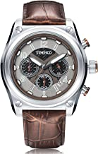 Time100 Men Multifunction Sports Casual Alloy Plating Case Leather Band Luminous Quartz Watches (coffee2)