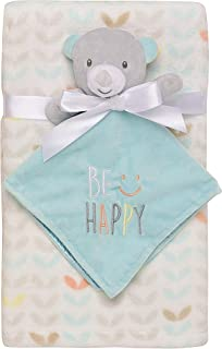 """Baby Starters 2-Piece Snuggle Buddy Toy Rattle and Plush Baby Blanket Gift Set for Newborns and New Moms (Aqua, Bear, 30""""x..."""
