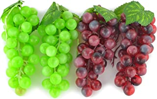 JEDFORE 4 Bunches of Artificial Green & Purple Grape Cluster Simulation Fake Fruit Home House Kitchen Party Decoration Lifelike - 2 Colors