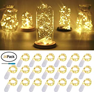 FELISHINE 20 Packs Fairy String Lights, 6.6FT 20 LEDs Battery Operated Silver Copper Wire Starry String Light for DIY Party Christmas Costume Wedding Easter Table Decorations (Warm White)