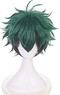 NEWNESS Cosplay Wig Short Green Black Hair Synthetic Wigs for My Hero Academia Midoriya Izuku