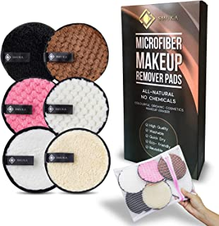 Reusable Makeup Remover Pads Organic - Washable Eco-Friendly Microfiber -12CM Extra-Large Double-Sided Rounds Face wipes - For All Skin Types 6 Pack Soft Pads with Free Laundry Bag