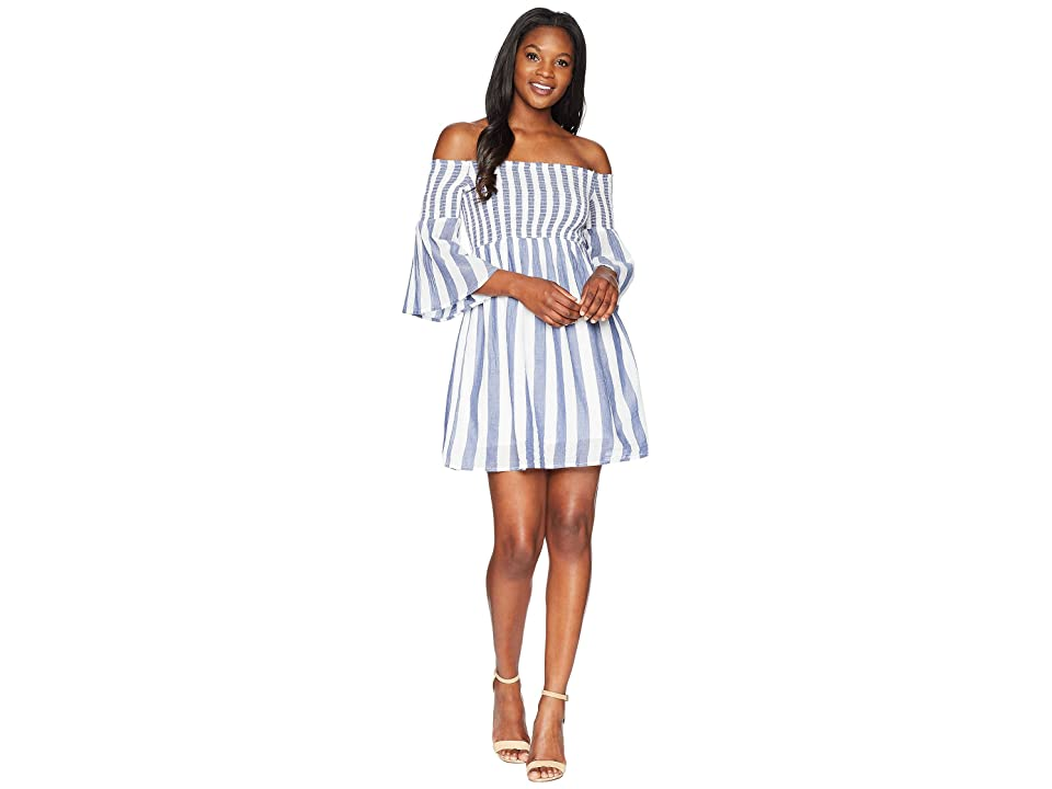 Lucky Brand Striped Smocked Dress (Blue Multi) Women