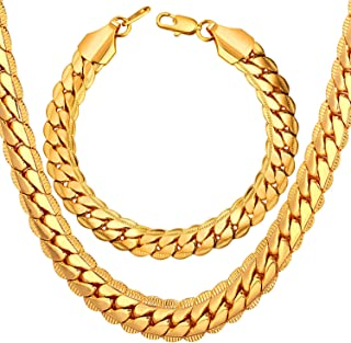 Men Women 18K Gold Plated Necklace with Gift Box 18KGP Stamp Hip Hop Jewelry 4 Colors 6MM-9MM Wide Snake Curb Chain Necklace,18