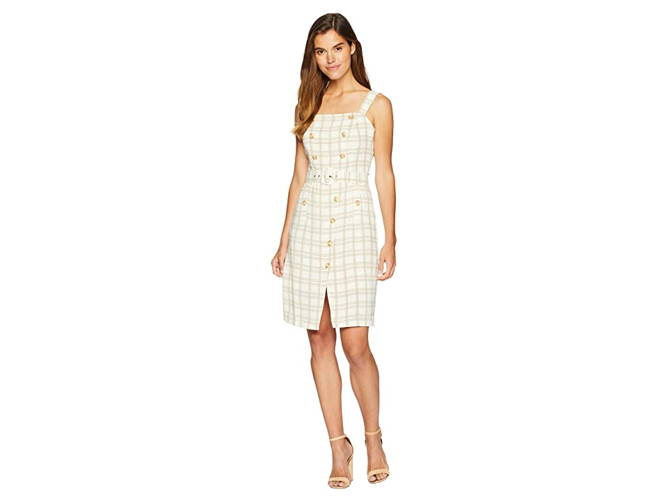 J.O.A. Button Detail Sleeveless Dress (Tan Plaid) Women
