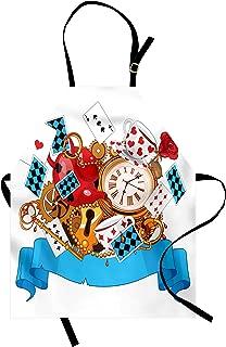 Ambesonne Alice in Wonderland Apron, Mad Design of Cards Clocks Tea Pots Keys Flowers Fantasy World Artwork, Unisex Kitchen Bib with Adjustable Neck for Cooking Gardening, Adult Size, Blue White