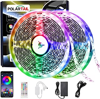 LED Strip Lights, Polartail 32.8ft RGB Color Changing SMD5050 LEDS Light Strips Flexible with Bluetooth Remote Control Sync to Music for Home, Kitchen, Party and Room Decoration, for iOS and Android