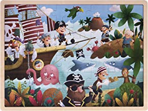 Ollie and Mr. Noodle: Playful Pirate Ship Jigsaw Puzzle | Children's 48 pc. Wooden Inset Travel Frame | Silly Seafaring Adventures, Early Learning, and Educational Fun for Kids, Toddlers, and Families