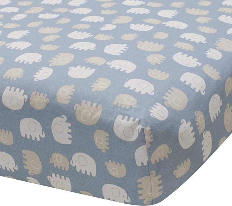 Lambs Ivy Signature Elephant Tales 100 Cotton Fitted Crib Sheet Blue Gray White