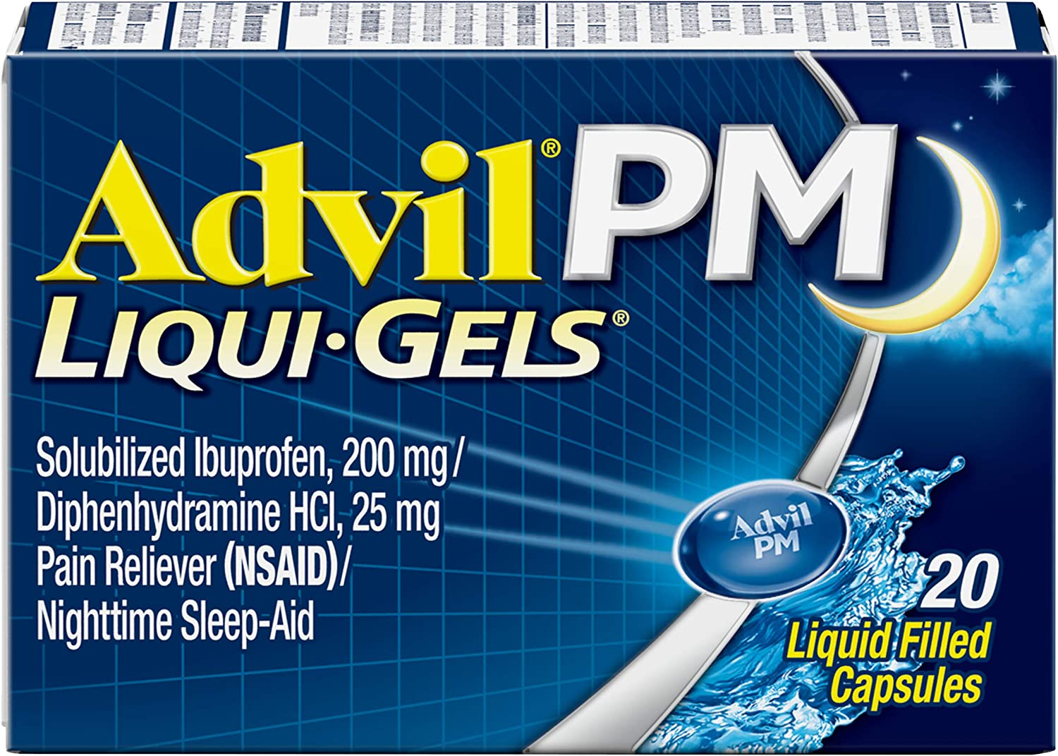Amazon Com Advil Pm Liqui Gels Pain Reliever And Nighttime Sleep Aid Pain Medicine With Ibuprofen For Pain Relief And Diphenhydramine Hcl For A Sleep Aid 20 Liquid Filled Capsules Health