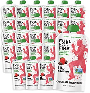 Fuel For Fire - Vegan Chocolate Strawberry (24 Pack) Fruit & Plant-based Protein Smoothie Pouch | Great for Workouts, Kids, Snacking - Gluten-Free, Soy-Free (4.5 ounce pouches)