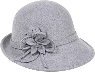 Womens 1920s Bucket Cloche Hat Gatsby Winter Wool Crushable Bowler Hat Vintage Cloche Round Hat with Flower Accent
