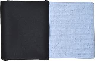Men in Black Men's Regular Fit Shirt and Pant Combo Unstitched Fabric (4043, Blue Shirt, Black Pant)