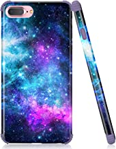 iPhone 7 Plus Case, iPhone 8 Plus Case, Emogins Phone Case for Apple, Soft Silicone Protective Cover with Blue Space Stars Universe Design for Women Girls