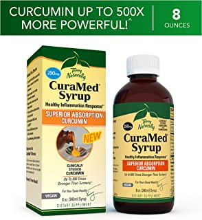 Terry Naturally CuraMed Syrup - 250 mg BCM-95 Curcumin, 8 fl oz - Promotes Healthy Inflammation Response, Supports Liver, Brain, Heart & Immune Health - Vegan, Non-GMO, Gluten-Free - 48 Servings