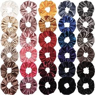 Ondder 30 Pack Velvet Scrunchies for Hair Elastics Bobbles Hair Ties Ropes Scrunchie Hair Bands Scrunchy Women's Scrunchies Ponytail Holder, 30 Colors (30 PCS Velvet Hair Scrunchies)