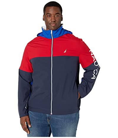 Nautica Big & Tall Lightweight Color Block Heritage Bomber Jacket (Navy) Men