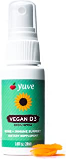 Yuve Vegan Vitamin D3 Spray Supplement - Supports Bone, Joint and Boosts Immune System - 800 IU of Complete, Pure, All Natural D - Healthy Heart - Non-GMO, Gluten-Free - 75 Sprays / 2.5mo Supply