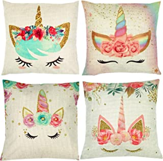 ZUEXT Set of 4 Unicorn Decorative Throw Pillow Covers 18 x 18 Inch, Colorful Pink Wavy Hair Unicorn in Garland Cotton Linen Cushion Cover Square Pillow Cases for Girls Women Kids Car Sofa Home Decor