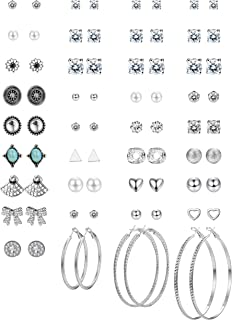 Thunaraz 36 Pairs Multiple Round Cute CZ Stud Earrings Vintage Bohemian Earrings for Women Girls Hoop Earring Set