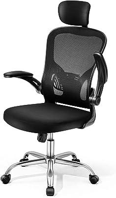 Magic Life Silla de escritorio ergonómica con reposacabezas ajustable, reposabrazos abatibles y cierre de malla agradable al tacto, rotación de 360°, respaldo alto