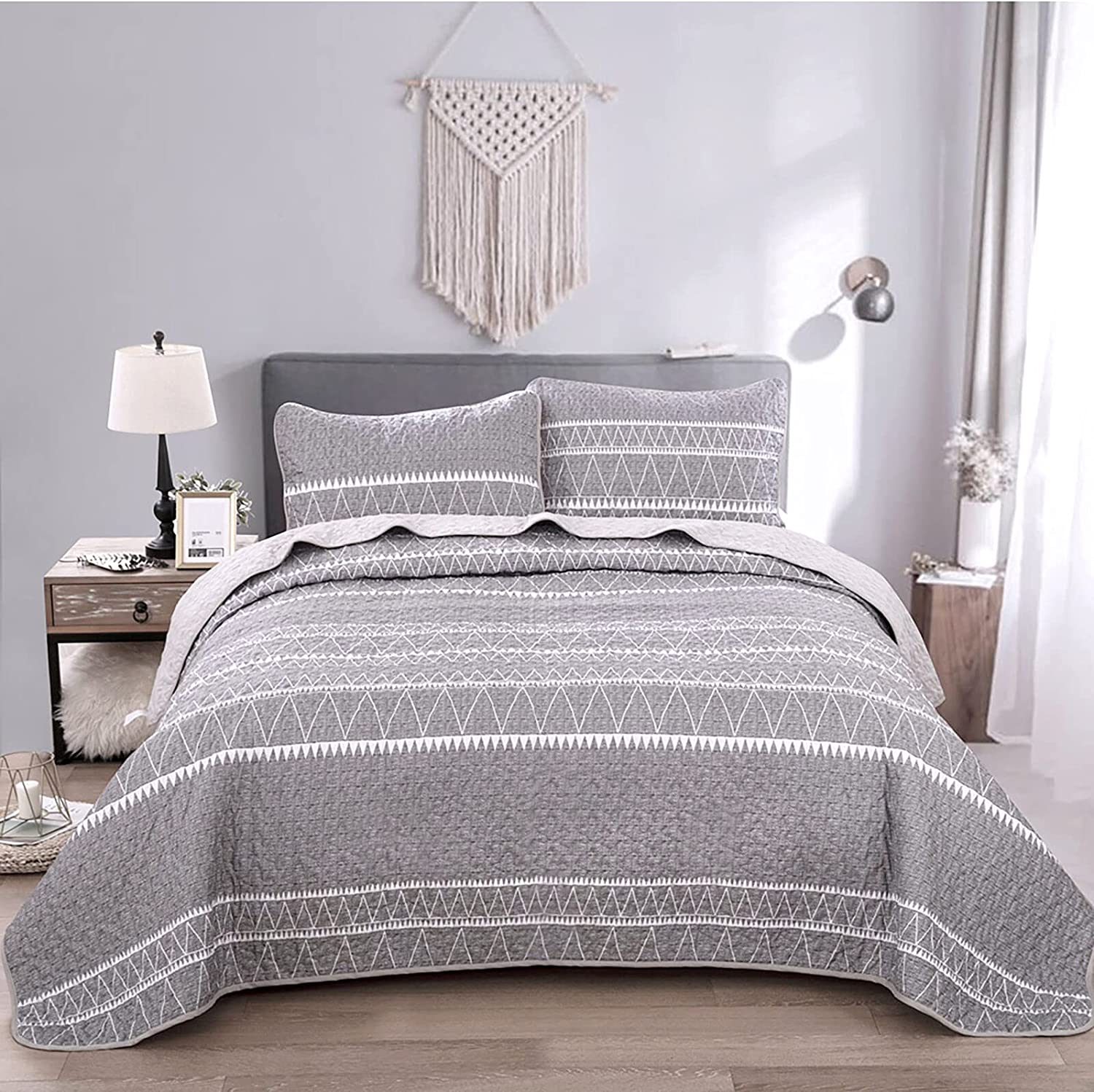 Grey Quilt Set Queen Price reduction Gray Striped Pattern Triangle Beds Printed Branded goods