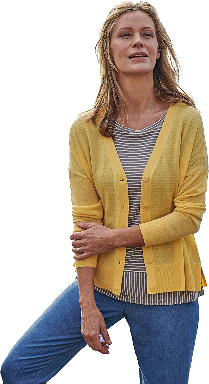 WoolOvers Womens 100% Merino Side Split V Neck Cardigan Soft Yellow M
