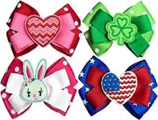 Hair Bows for Girls, 4 Seasonal Grosgrain Ribbon Bows, Clips to Hair