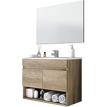 Mueble de Baño para Lavabo 60 cm INDUSTRIAL - Madera y Metal Negro ...