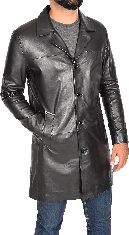 Mens Real Lambskin Leather Crombie 3/4 Length Blazer Button Box Coat Jimmy Black