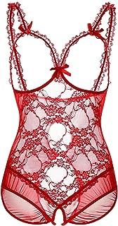 KELITCH Women Sexy Lingerie V-Neck Halter Strap Lace Mesh Babydoll Chemise for Ladies Nightwear
