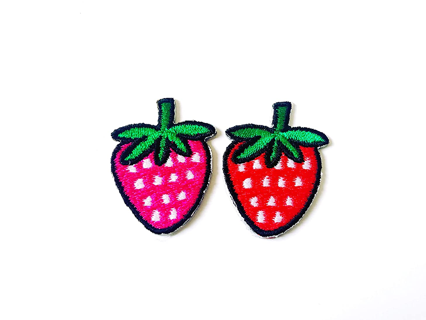 Tyga_Thai Brand Set 2 pcs. Mini Red Pink Strawberry Cute Fruit Jacket T-Shirt Sew Iron on Embroidered Applique Badge Sign Patch (Iron-Red-Pink-Strawberry-Fruit)