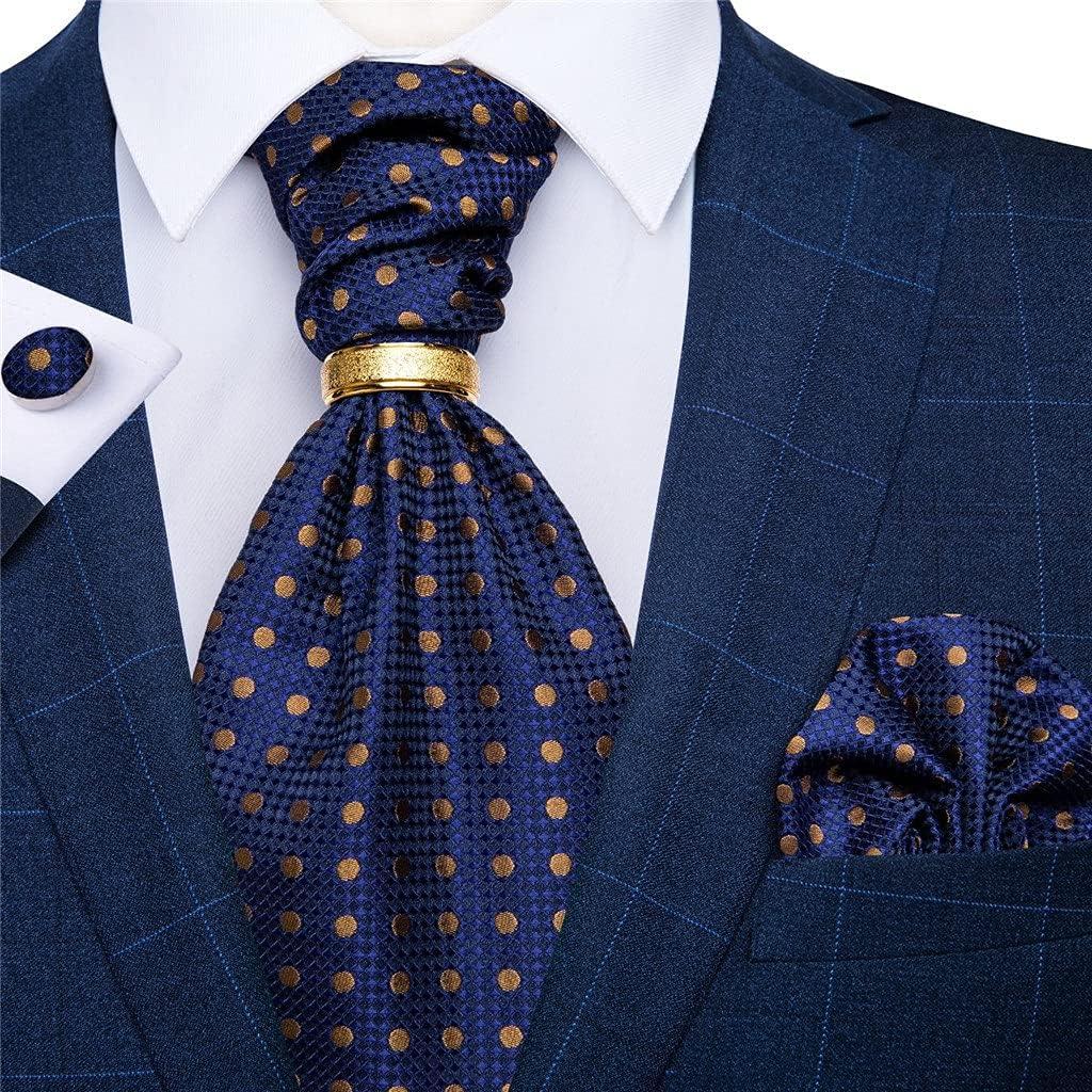 NSXKB Men's Vintage Silk Tie Wedding Party Cravat Classic Bussines Gentleman Scarf Ring Set (Color : B, Size : One Size)