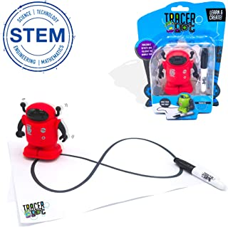 MukikiM Tracerbot - Red – Mini Inductive Robot That Follows The Black Line You Draw. Fun, Educational, & Interactive Stem Toy with Limitless Ways to Play! Promotes Logic & Creativity Training