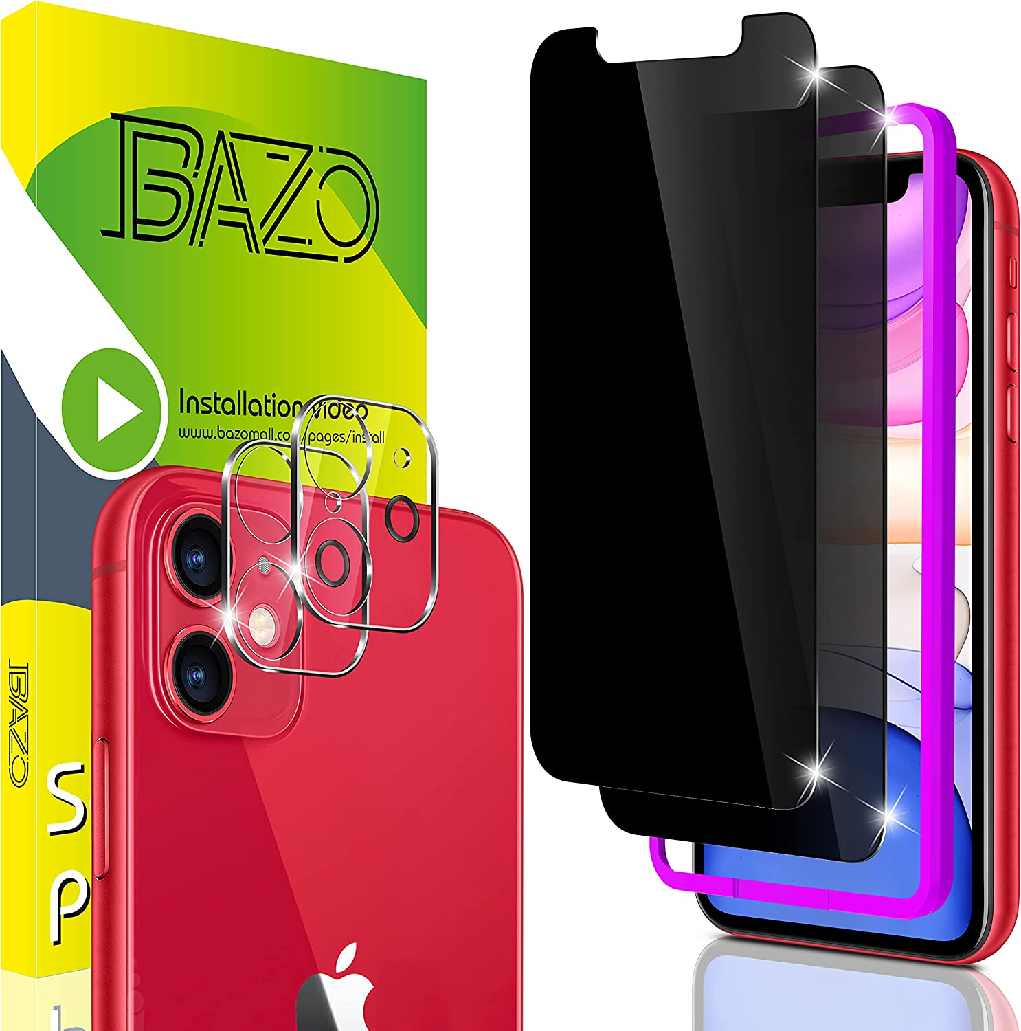 BAZO 2 Pack Privacy Glass Screen Protector for iPhone 11 (6.1 inch) with Easy Installation Frame +2 Pack Camera Lens Protector - Case Friendly -Anti Spy - 9H Hardness -HD Clear -Tempered Glass