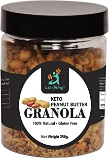 Leanbeing Keto Peanut Butter Granola 250G | Low Carb Cereal, Gluten & Grain Free, High Protein Keto Cereals Energy Snack.