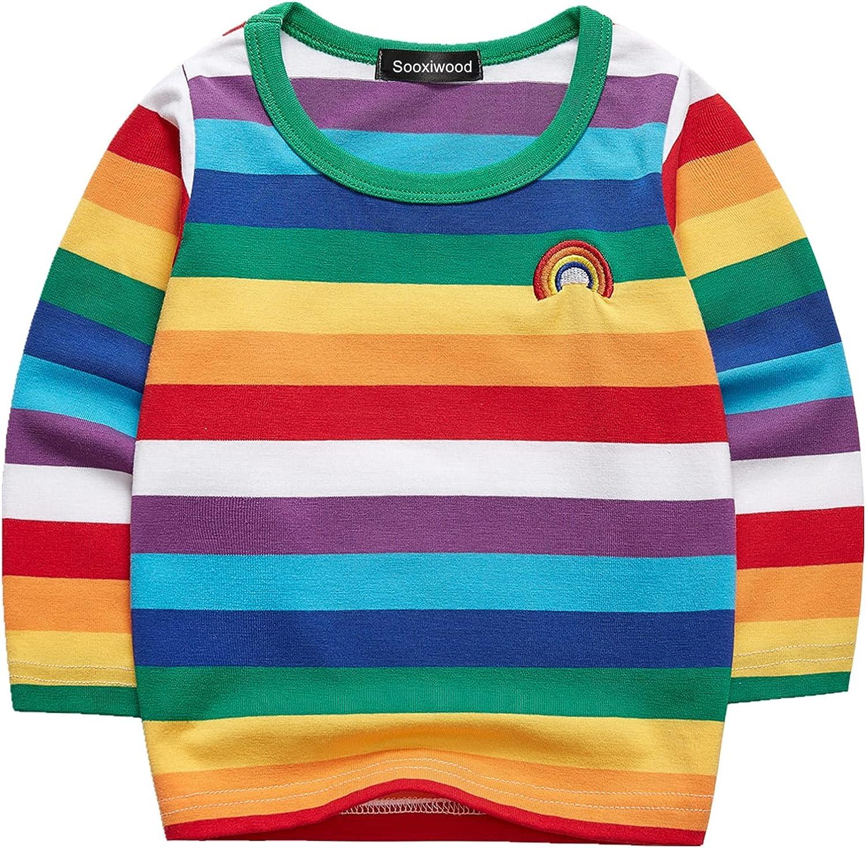 Sooxiwood Little Boys T-Shirt Rainbow Striped O-Neck Cotton Blend Halloween Rainbow Shirt for Boys