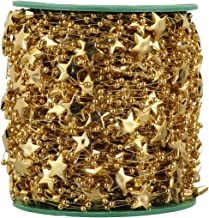 EXCEART 1 Roll Golden Star Bead Garland Christmas Tree Garland Beads for Wedding Christmas Decoration Gift Wrapping