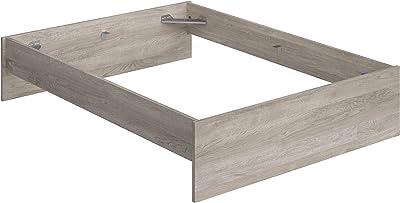 Marque Amazon -Movian - Cadre de lit double avec tête et pied de lit bas Kolva Modern, 144,5 x 194,5 x 31,7, Effet Chêne