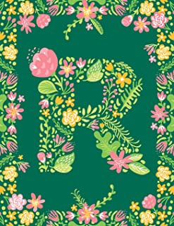 Floral Initial R Monogram Journal: Large Blank Lined Notebook Personalized for Names Starting with Letter R