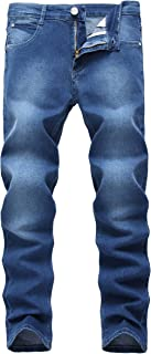 Qazel Vorrlon Men's Blue Skinny Jeans Stretch Washed Slim Fit Pencil Pants