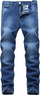 Men's Blue Skinny Jeans Stretch Washed Slim Fit Pencil Pants