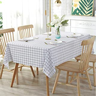 BSTC Table Cloth, White & Black Checkered Vinyl Rectangle Tablecloth for Dining Picnic Table Cover, Outdoor Camping Plastic PVC Table Cloths for Parties, 54