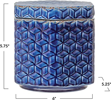 Creative Co-Op Debossed Decorative Stoneware Lid & Pattern, Distressed Crackle Glaze, Blue Jar